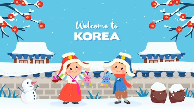 Welcome to korea winter background