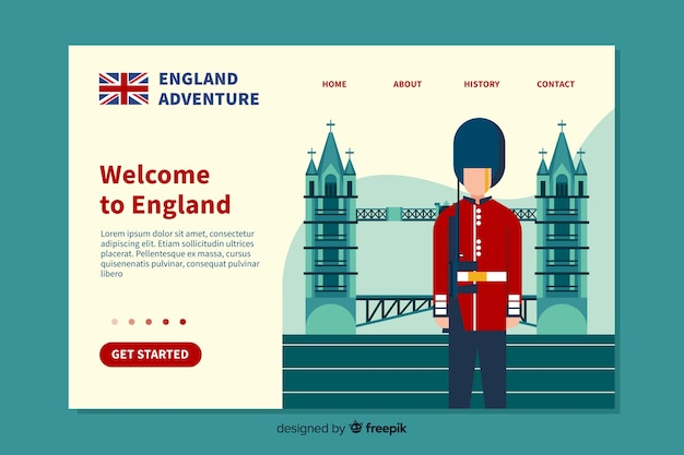 Welcome landing page flat design