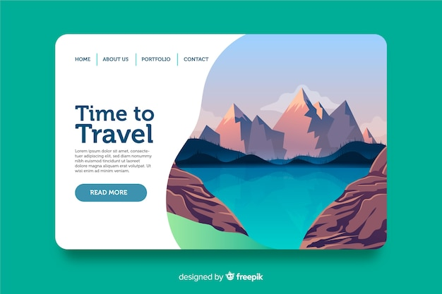 Welcome landing page template flat design