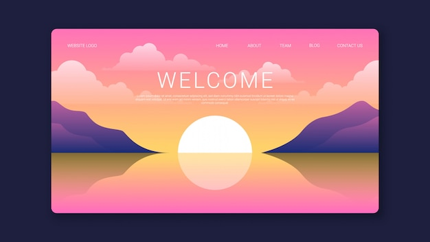 Welcome landing page template with beautiful sunset