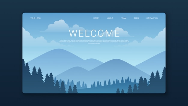 Welcome landing page template with mountains and forest landscape