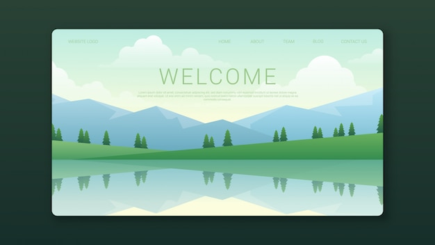 Welcome landing page template with mountains landscape