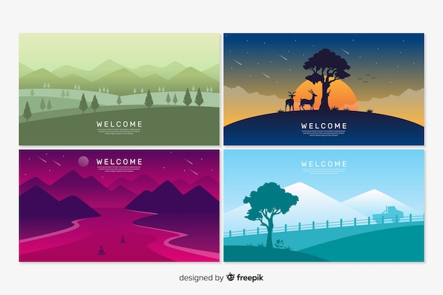 Welcome landing page templates with landscape