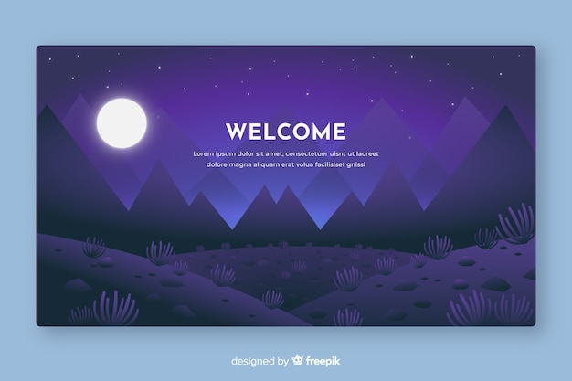Welcome to landing page with gradient landscape