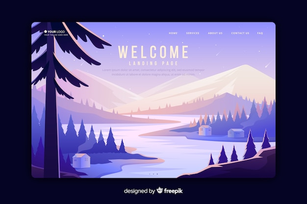 Welcome landing page with gradient landscape