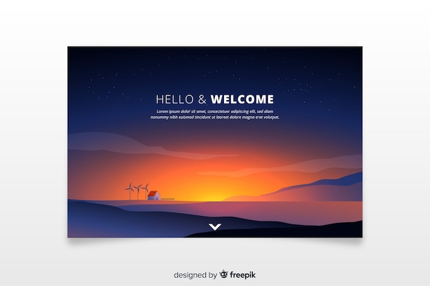 Welcome landing page with gradient sunset