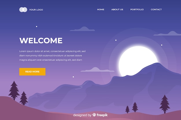 Welcome landing page with sunset