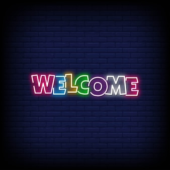 Welcome lettering neon signs