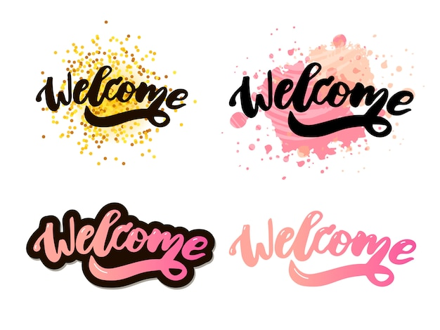 Welcome  lettering text
