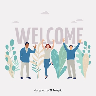 Welcome lettering with people cheering