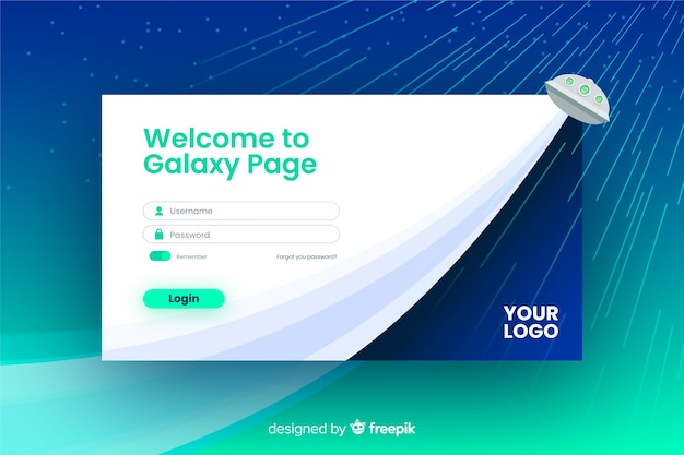 Welcome log in landing page design