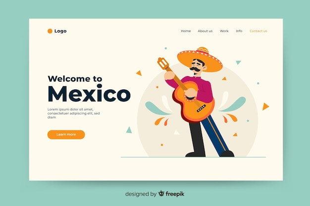 Welcome to mexico landing page with illustrations