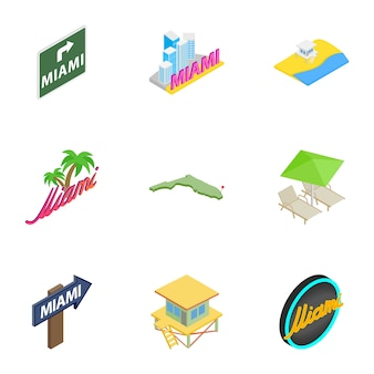 Welcome to miami icons set, isometric 3d style