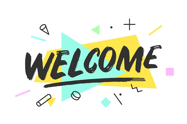 Free Vector | Welcome lettering in memphis style