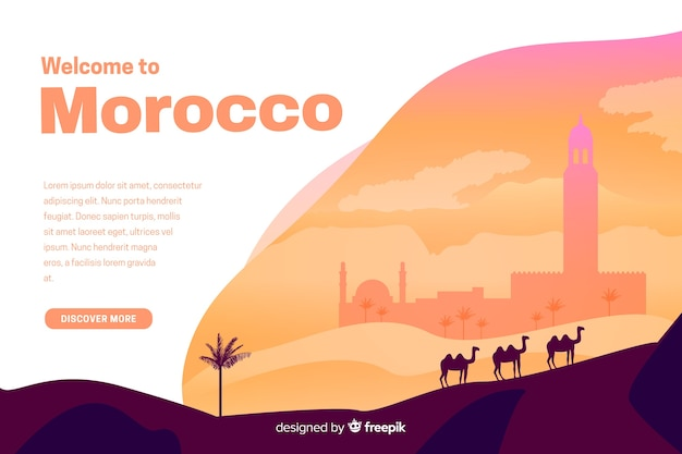 Welcome to morocco landing page with illustrations Free Vector