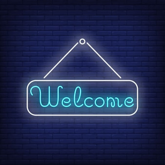 Welcome neon lettering on tablet. invitation.
