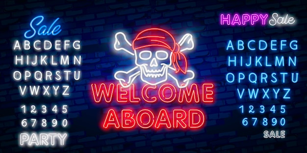 Welcome neon sign, design template, modern trend design, night neon signboard, night bright advertising, light banner, light art.