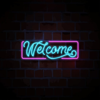 Welcome neon sign illustration