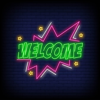 Welcome neon sign text