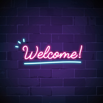 Welcome in neon sign vector
