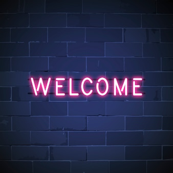 Welcome in neon sign