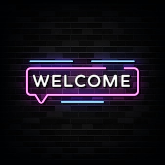 Welcome neon signs on black wall