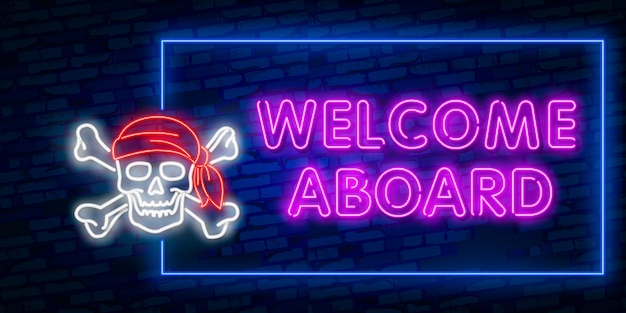 Welcome neon text
