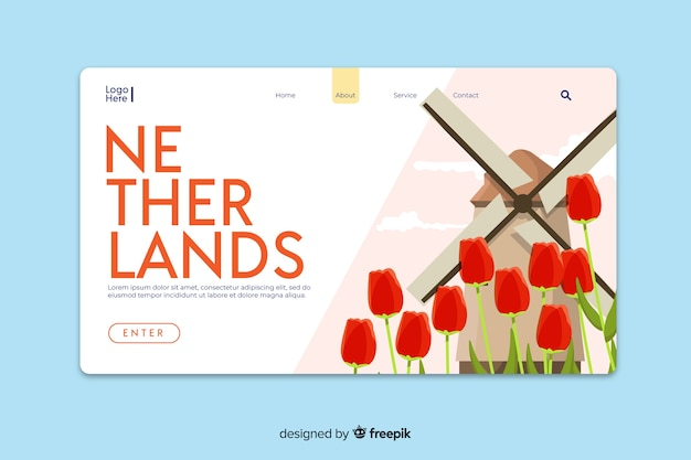 Welcome to netherlands landing page template