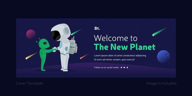 Welcome to the new planet facebook cover page template with astronaut and alien