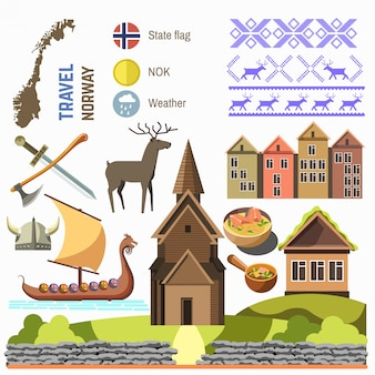 Welcome to norway traditional symbols collection.