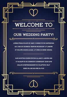 Welcome to our wedding party card template with design in art deco or nouveau epoch 1920's