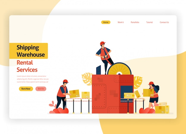 Welcome page website for warehousing rental service companies, delivery transit, ports, aircraft cargo and public transportation. warehouse with box packing machines.