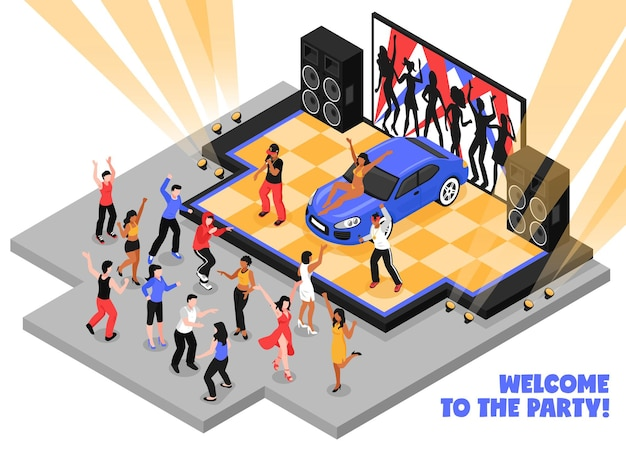 Welcome to the party isometric  with rappers performing rap music on stage and dancing teens