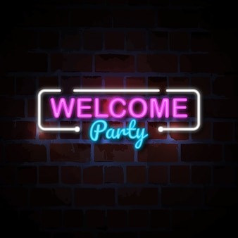 Welcome party neon style sign illustration