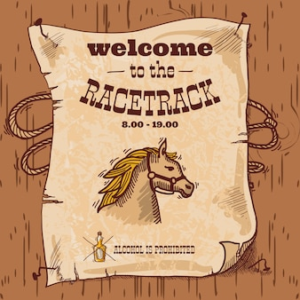 Welcome to the racetrack retro illustration