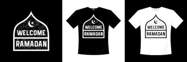 Welcome ramadan typography t-shirt design