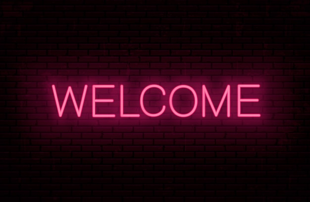 Welcome - ready inscription template for neon signboard.  glowing text on wall .