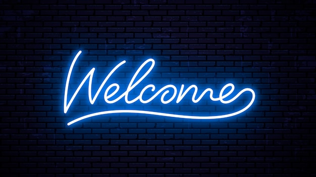 Welcome - ready inscription template for neon signboard.