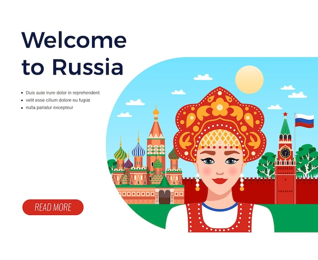 Welcome to russia flat composition travel agency advertising  with girl in sarafan and kokoshnik