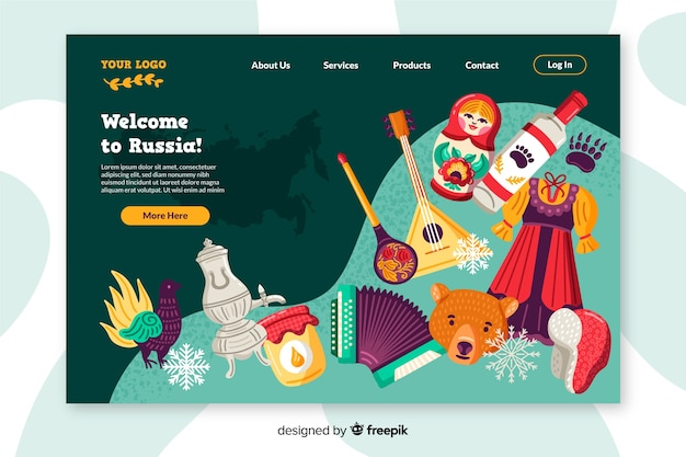 Welcome to russia landing page flat design