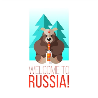 Welcome to russia. russian bear with vodka.