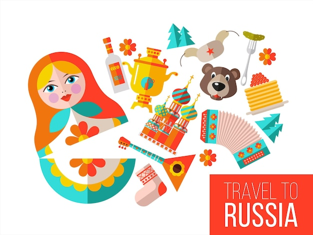 Welcome to russia. a set of sights of russia.