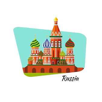 Welcome to russia. st. basil's cathedral on red square - stock flat illustration. landscape design.