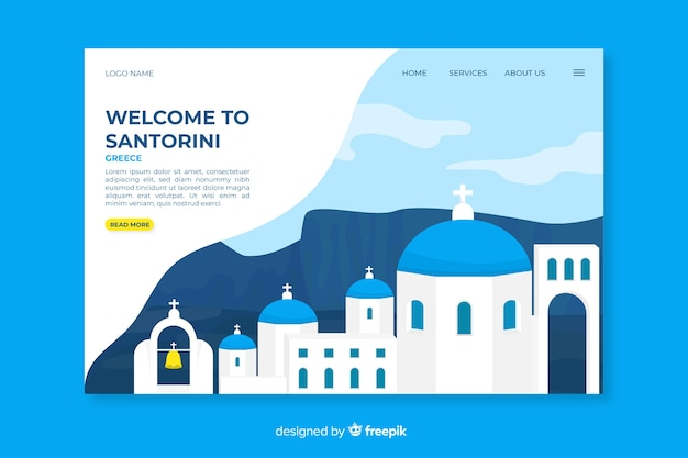 Welcome to santorini landing page