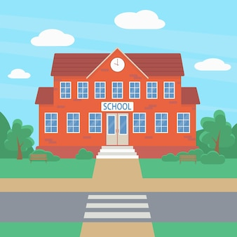 Welcome to school school building against the backdrop of green bushes and trees education concept