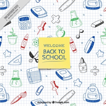 Welcome to school with school supplies drawn on a notebook