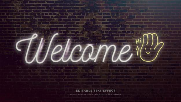 환영 사인 네온 라이트 타이포그래피 편집 가능한 텍스트 효과