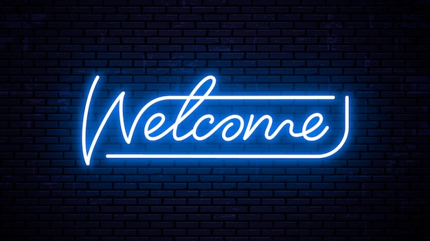 Welcome sign in neon light