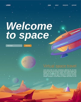 Welcome to space cartoon landing page with ufo spaceship
