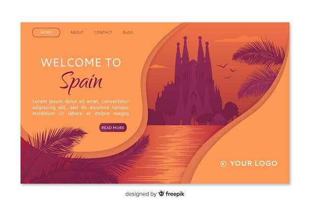 Welcome to spain landing page template